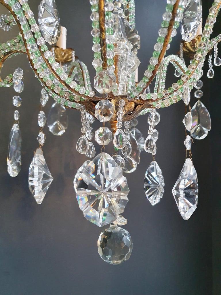 Beaded Green Crystal Chandelier Antique Ceiling Lamp Lustre Art Nouveau Brass For Sale 2