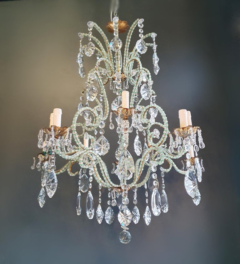 Beaded Green Crystal Chandelier Antique Ceiling Lamp Lustre Art Nouveau Brass For Sale 3