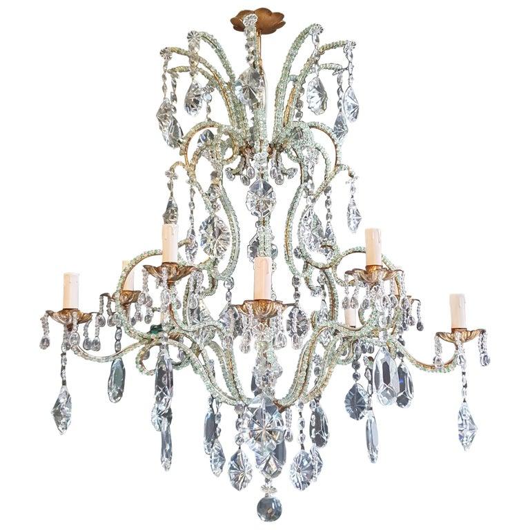 Beaded Green Crystal Chandelier Antique Ceiling Lamp Lustre Art Nouveau Brass For Sale