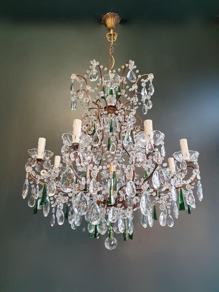 Beaded Green Crystal Chandelier Antique Ceiling Lamp Lustre Art Nouveau For Sale 3