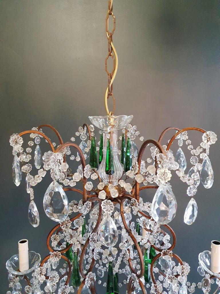 Beaded Green Crystal Chandelier Antique Ceiling Lamp Lustre Art Nouveau For Sale 4