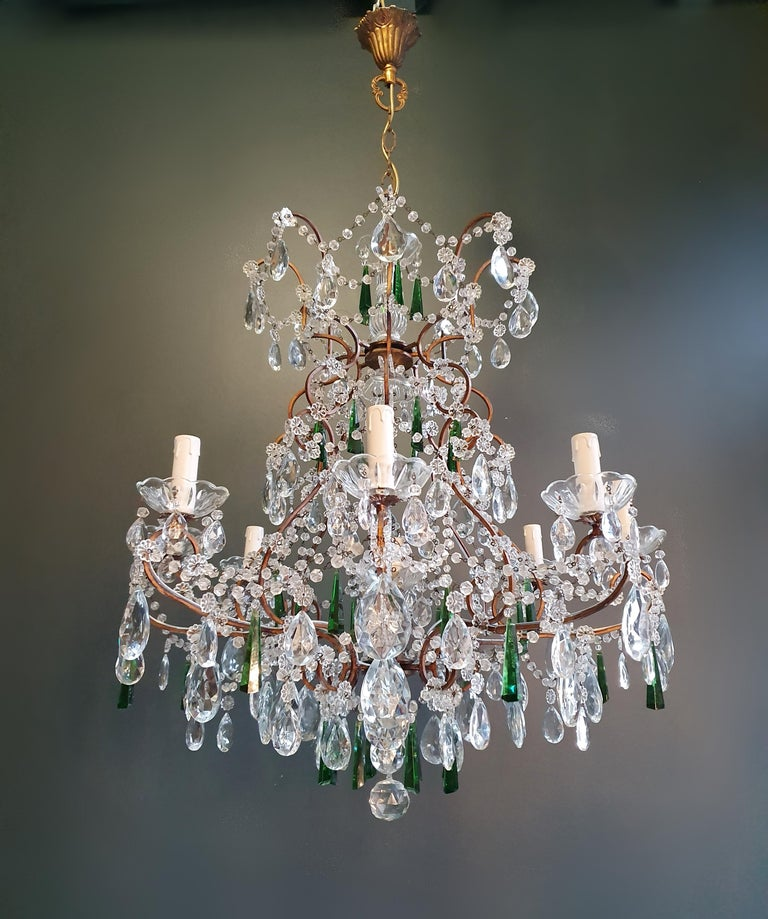 Beaded green crystal chandelier antique ceiling lamp Lustre Art Nouveau  Measures: Total height 130 cm, height without chain 80 cm, diameter 74 cm. Weight (approximately): 15 kg.  Number of lights: 9-light bulb sockets: 8 x E14 and 1 x E27