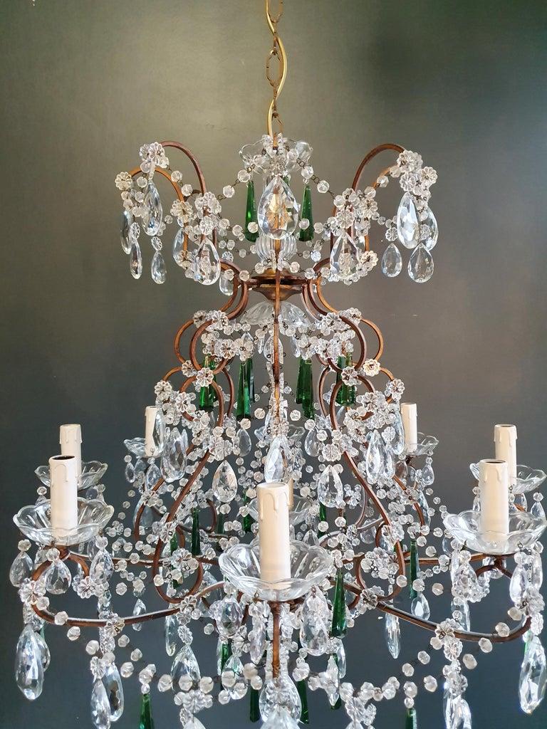 Italian Beaded Green Crystal Chandelier Antique Ceiling Lamp Lustre Art Nouveau For Sale