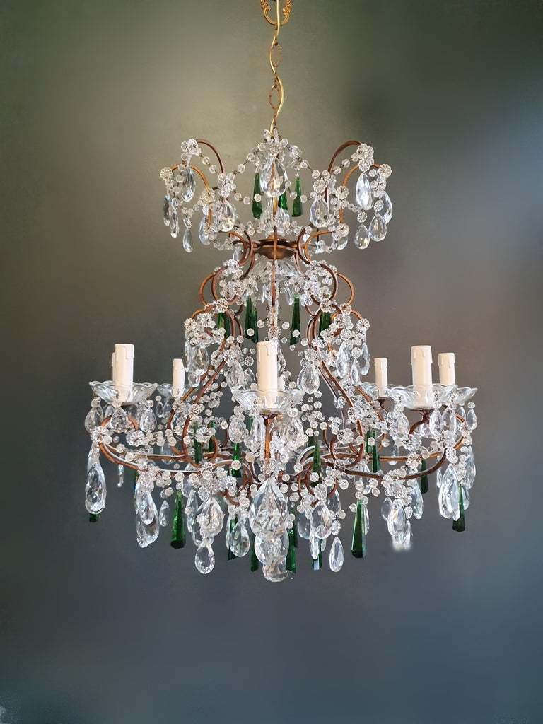 Hand-Crafted Beaded Green Crystal Chandelier Antique Ceiling Lamp Lustre Art Nouveau For Sale