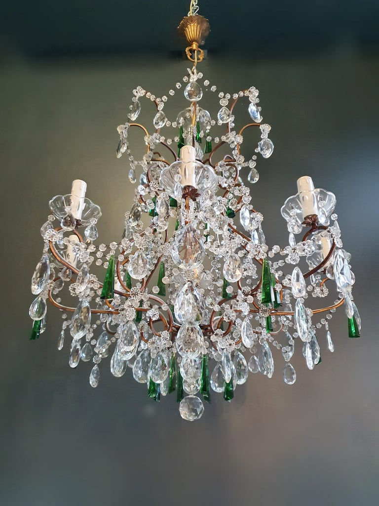Beaded Green Crystal Chandelier Antique Ceiling Lamp Lustre Art Nouveau In Good Condition For Sale In Berlin, DE