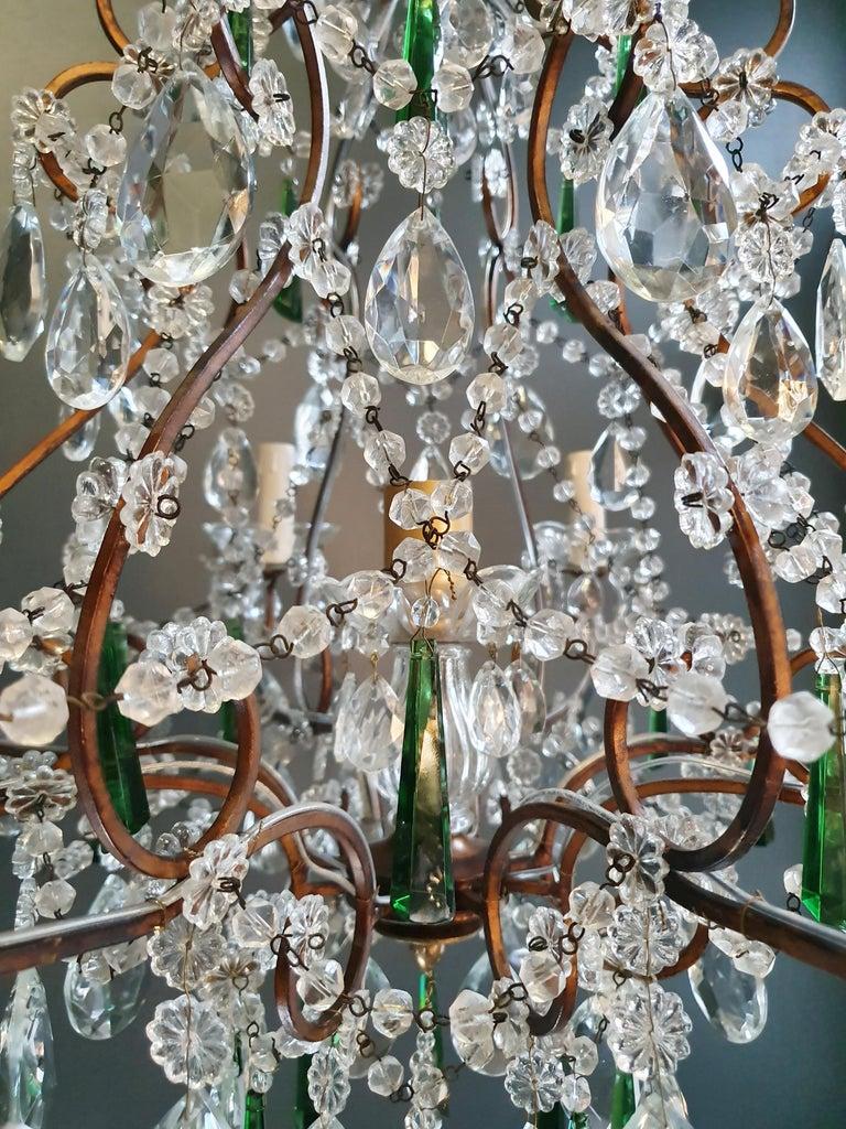Brass Beaded Green Crystal Chandelier Antique Ceiling Lamp Lustre Art Nouveau For Sale