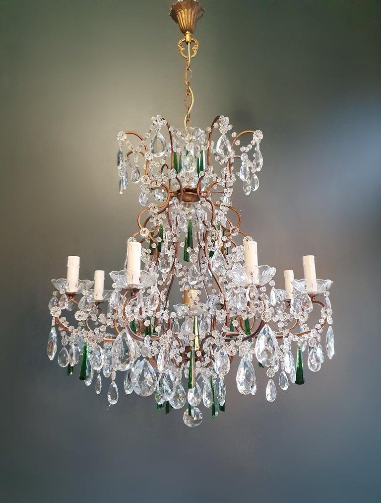 Beaded Green Crystal Chandelier Antique Ceiling Lamp Lustre Art Nouveau For Sale 1