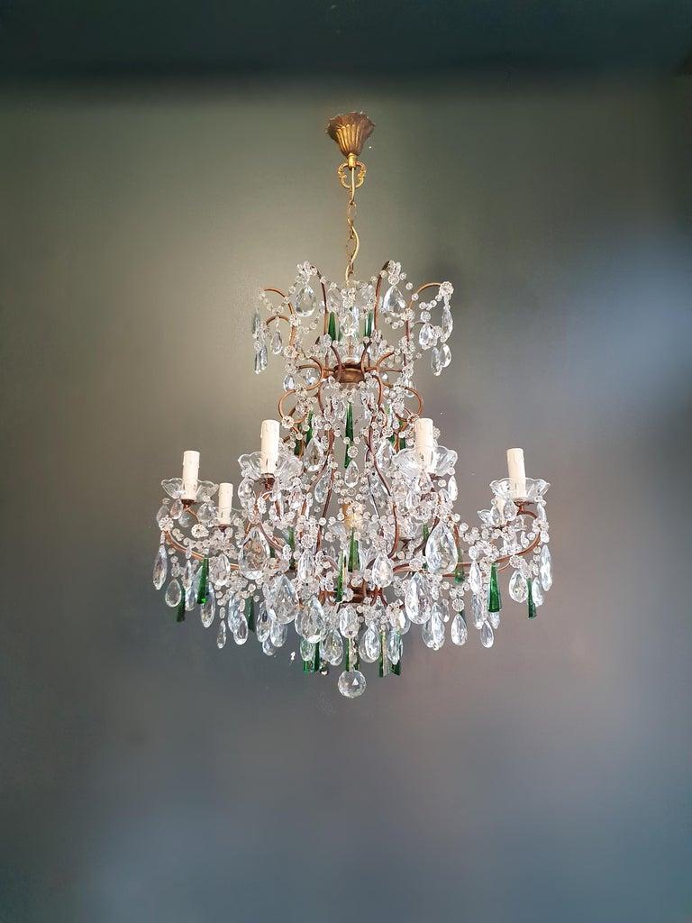 Beaded Green Crystal Chandelier Antique Ceiling Lamp Lustre Art Nouveau For Sale 2