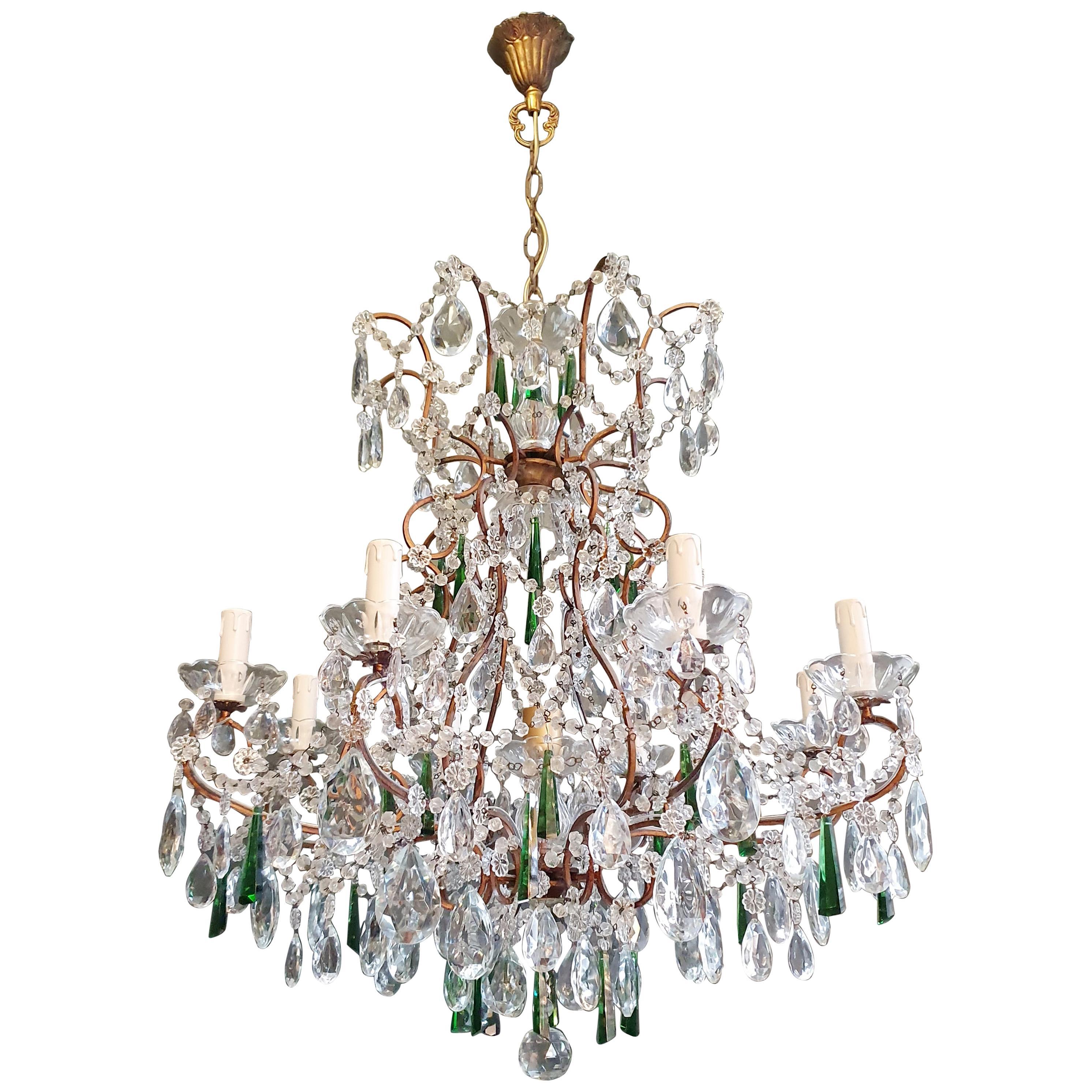 Beaded Green Crystal Chandelier Antique Ceiling Lamp Lustre Art Nouveau
