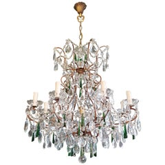 Beaded Green Crystal Chandelier Antique Ceiling Lamp Lustre Art Nouveau