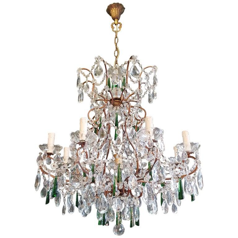 Beaded Green Crystal Chandelier Antique Ceiling Lamp Lustre Art Nouveau For Sale