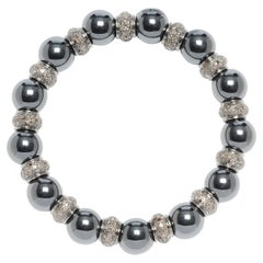 Beaded Hematite and Diamond Stretchable Bracelet in Silver