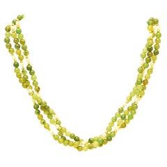 Beaded Jade necklace, three rows, 1950s