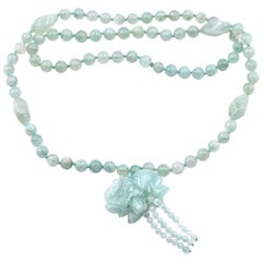 Beaded Jade Necklace with Carved Jade Elephant