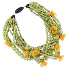 Beaded Lucite Statement Necklace With Orange Tulips By Angela Caputi, 1980s
