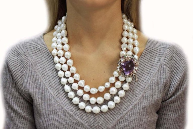 Retro Beaded Multi Strands and Amethyst Gold Clasp Necklace For Sale
