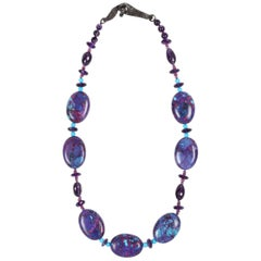 Beaded Necklace Turquoise Amethyst Ruby Silver