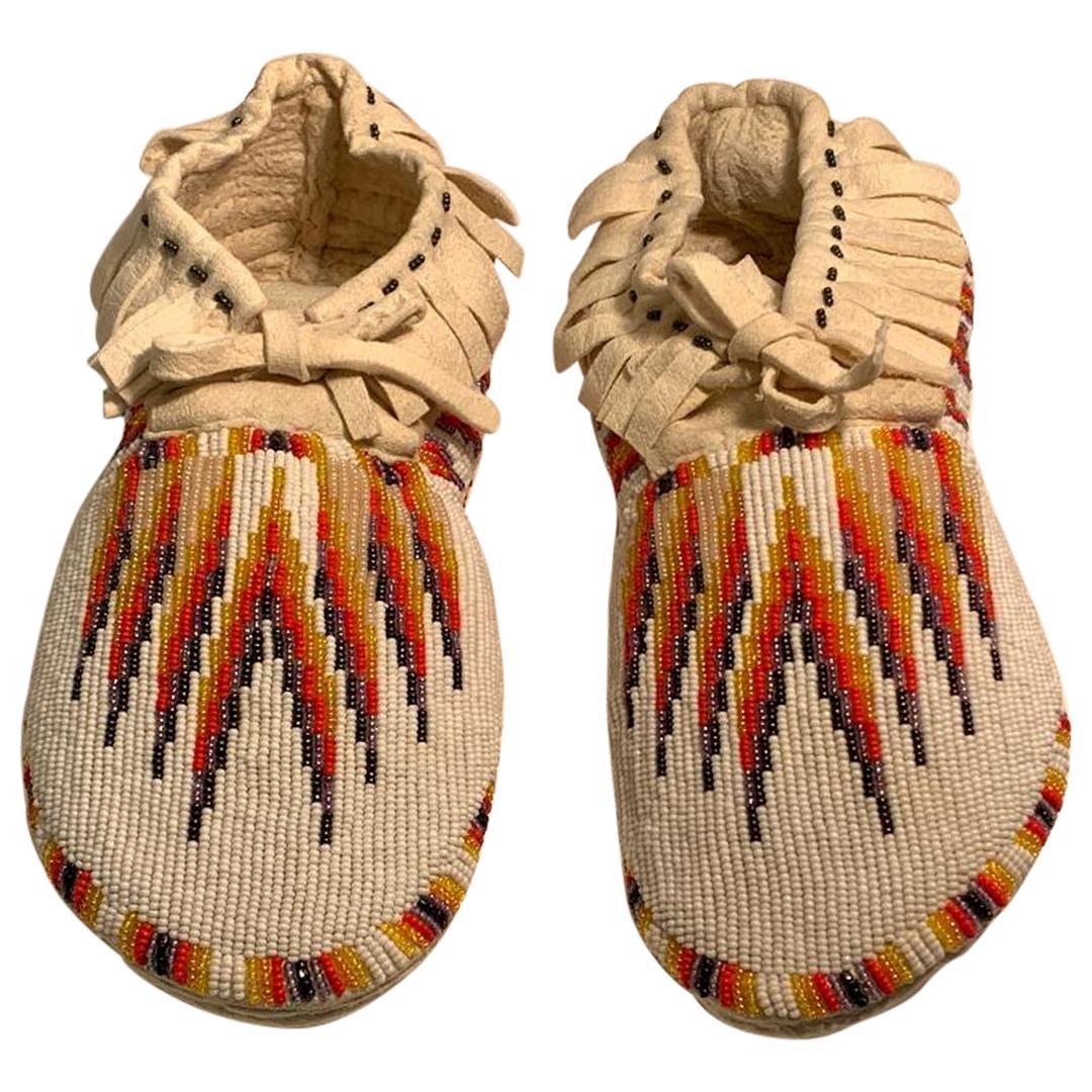 Beaded Paiute Native American Indian Handmade Work of Art Moccasins