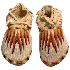 Beaded Paiute Native American Indian Handmade Work of Art Moccasins