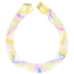 Beaded Pastel Rainbow Sapphire Strand Necklace with 9 Karat Gold Clasp