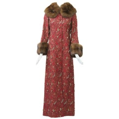 Beaded Red Brocade Evening Coat with Sable Trim