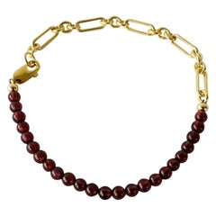 Beaded Red Garnet Gold Filled Chain Bracelet J Dauphin