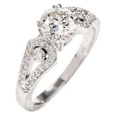 Beaudry GIA European Round Diamond Platinum Engagement Ring