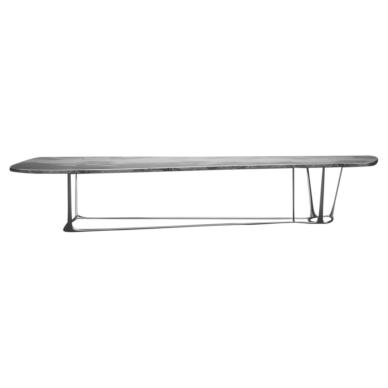 BEAM, Limited Edition 21st Century Hand Silvered Aluminium & Steel Dining Table
