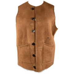 BEAMS Size XL Tan Suede Sheep Leather Shearling Vest