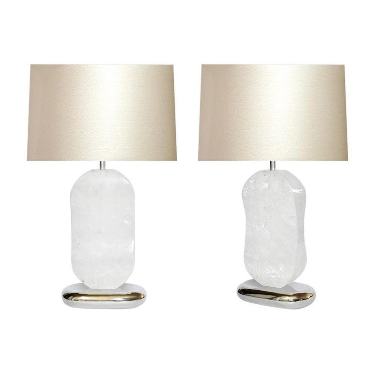 Bean Rock Crystal Quartz Lamps by Phoenix For Sale