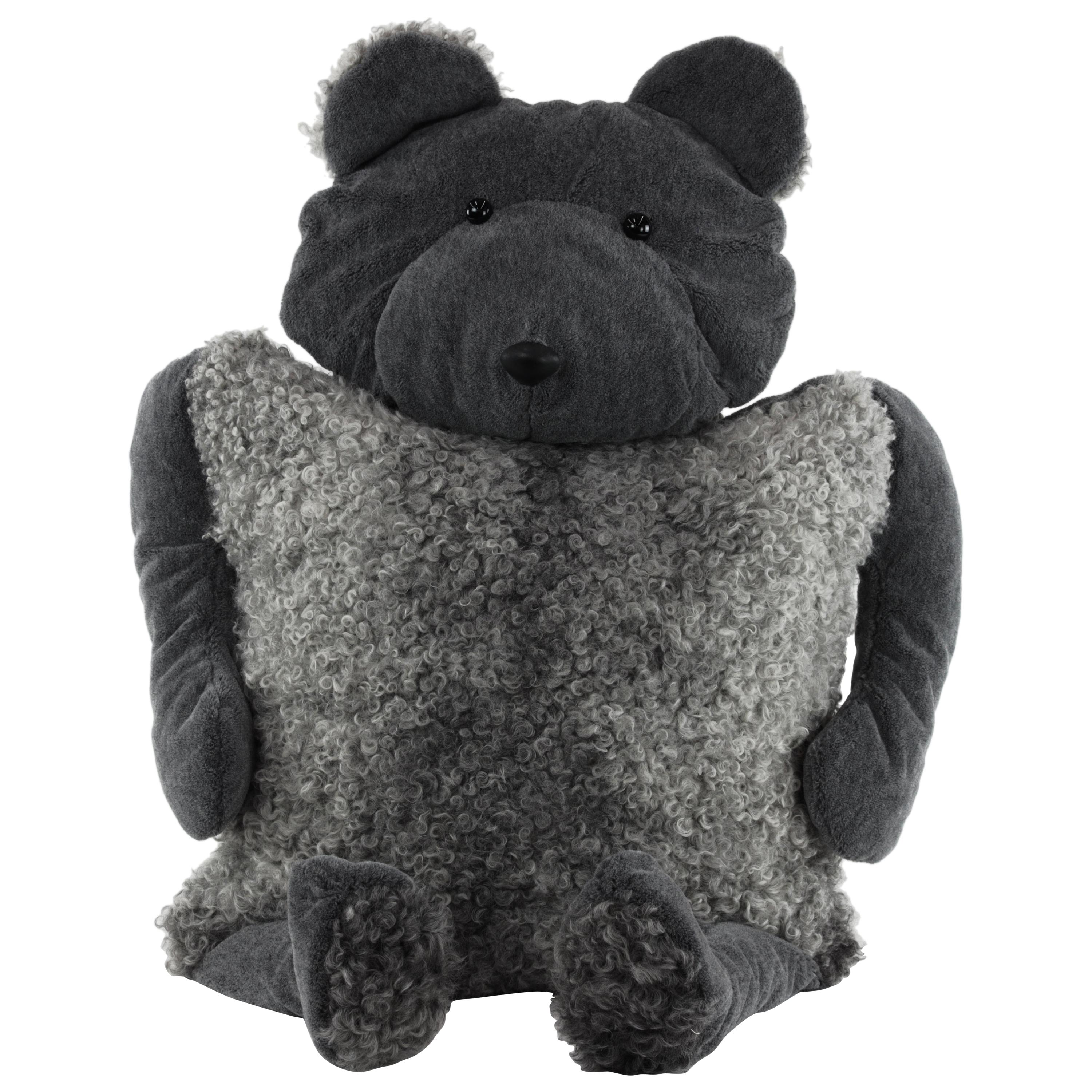Bear Buddy Throw Pillow in Alpaca and Lambskin, 2020, by Christopher Kreiling