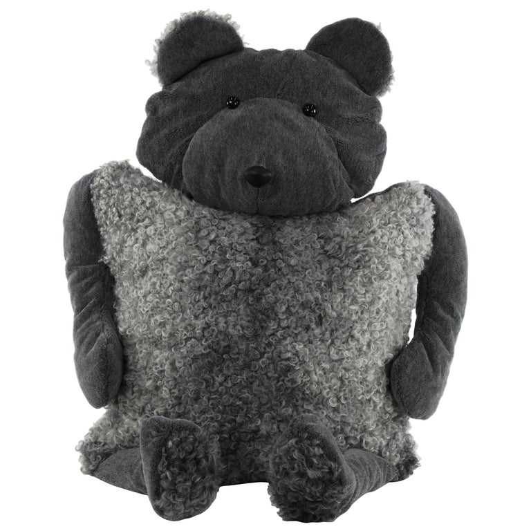 Bear Buddy Throw Pillow in Alpaca and Lambskin, 2020, by Christopher Kreiling For Sale