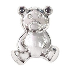 Bear Pendant in 18 Karat White Gold with Black and White Diamonds