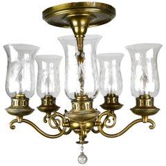 Beardslee Federal Brass 5-Light Chandelier with Hurricane Shades
