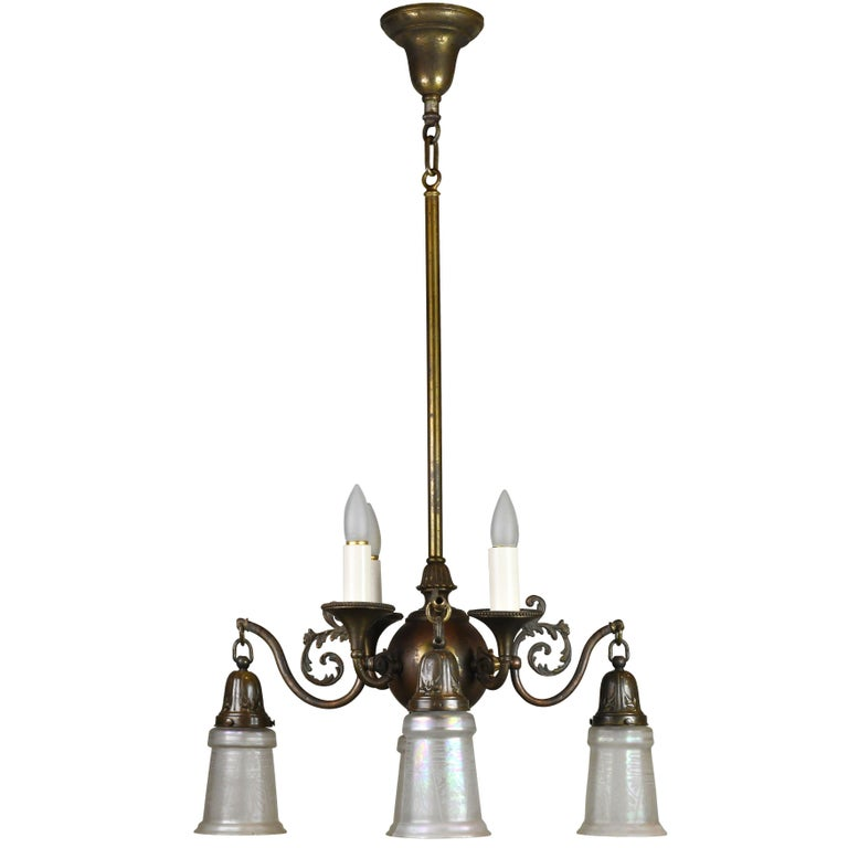 Beardslee Gas/Electric Chandelier with Shades For Sale
