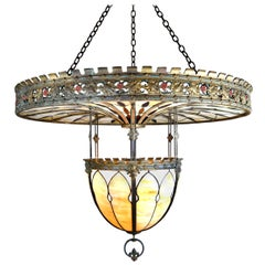 Beardslee Over-Sized 2 Piece Bronze and Bent Leaded Stained Glass Chandelier
