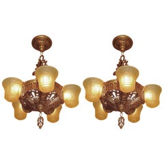 Beardslee Slip Shade Fixture Antique Golden with Amber Shades