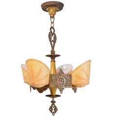 Beardslee Williamson Polychrome Art Deco Slip Shade Chandelier