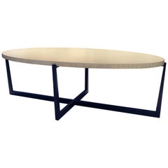 Beat Oval Coffee Table with Standard Wood Top by Powell & Bonnell