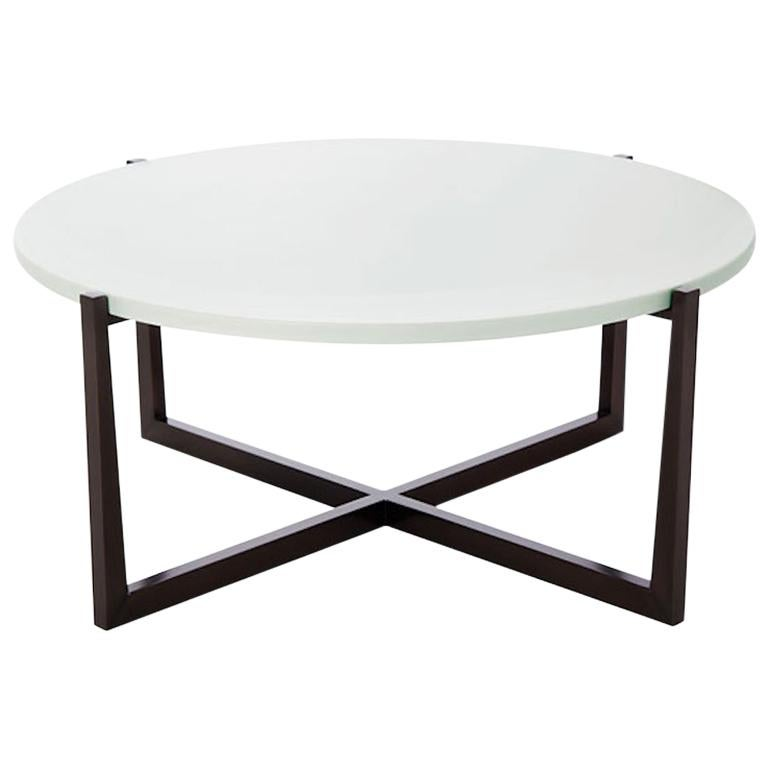 Beat Round Coffee Table With Cotton Top And Bronze Base By Powell Bonnell