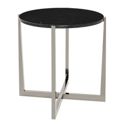 Beat Side Table in Black Chrome with Granite Top by Powell & Bonnell