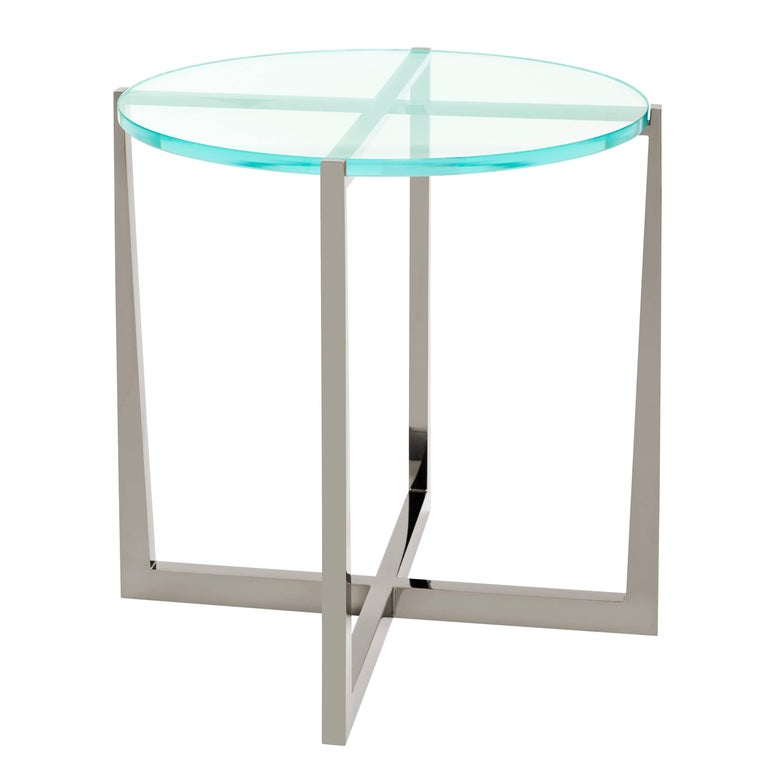 Beat Side Table with Clear Glass Top and Black Chrome Base by Powell & Bonnell For Sale