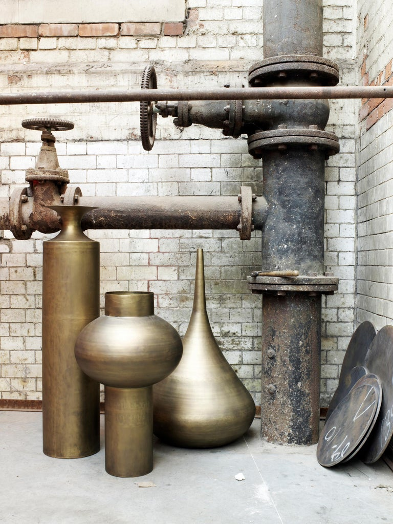 Modern Beat Tall Vessel in Brass by Tom Dixon For Sale