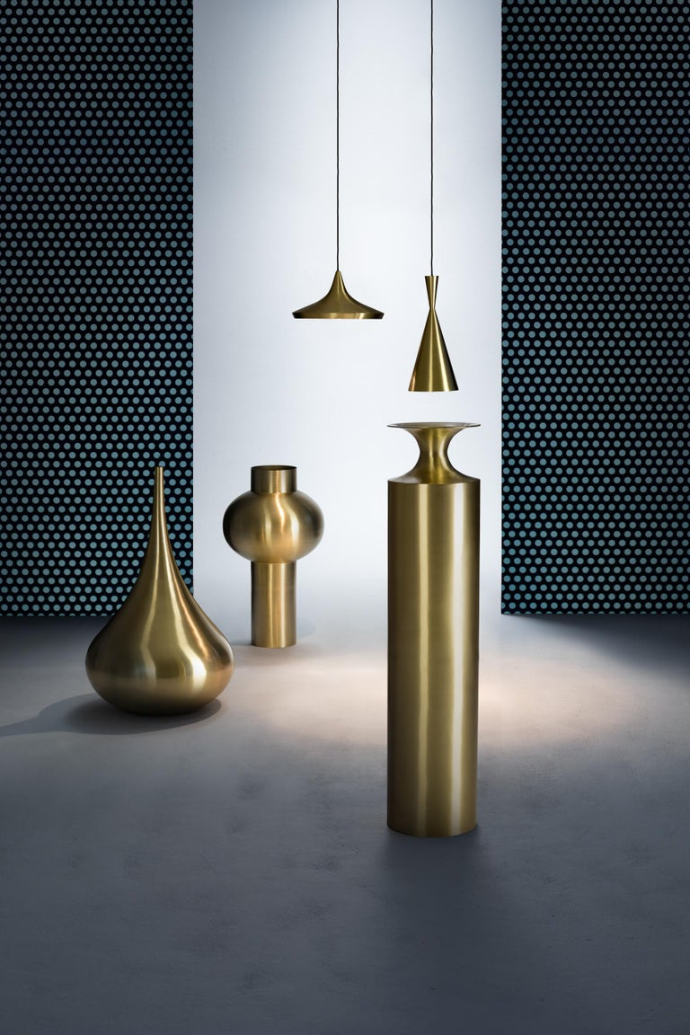 Welded Beat Tall Vessel in Brass by Tom Dixon For Sale