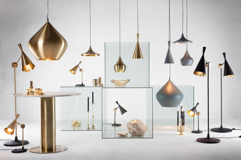 Brass Beat Wide Pendant Light by Tom Dixon For Sale