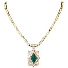 Beathtaking Emerald and Diamond Necklace in 18K 3.75 Diamond Shaped Emerald