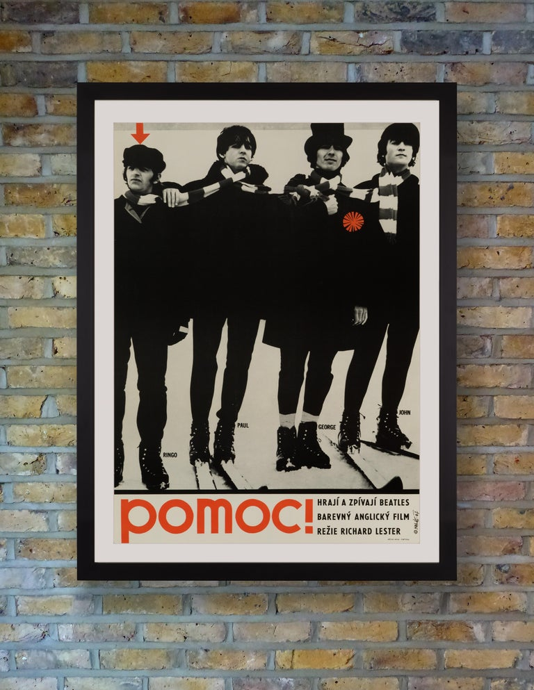 This exceedingly rare and graphically stunning poster was created by Radim Malát for the first Czech release of the 1965 Beatles romp 'Help!,' using an image of the Fab Four taken during shooting of the film's ski scenes in Obertauern, Austria. In