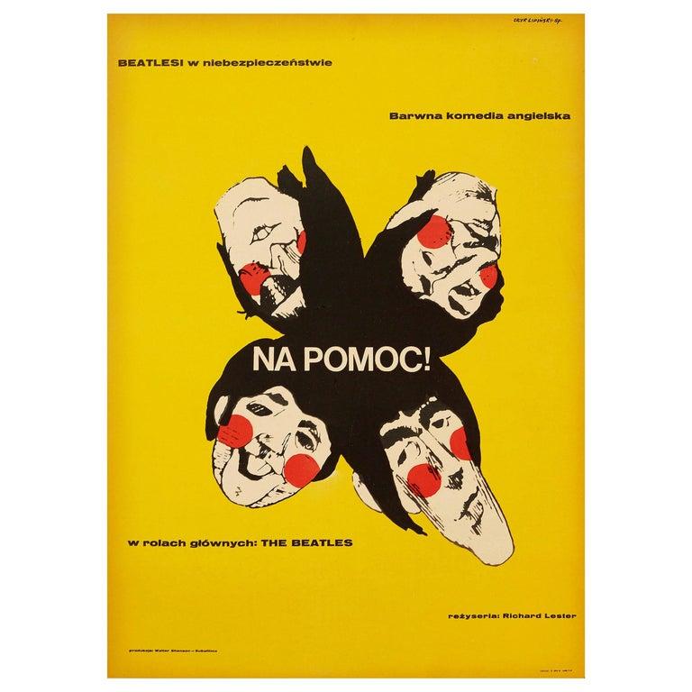 Beatles 'Help!' Original Vintage Movie Poster by Eryk Lipinski, Polish, 1967 For Sale