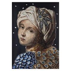 Beatrice Cenci Handmade Micro Mosaic Canvas Gold Silver White Diamond Jet Topaz