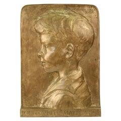 Beatrice Fenton Profile Portrait Relief Bronze Plaque of John White Mathews Jr